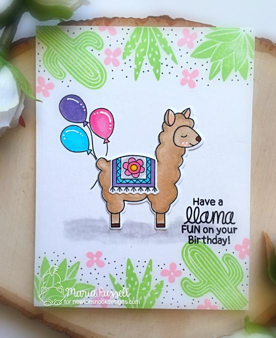 Llama Birthday Card by Maria Russell | Loveable Llamas and Cultivated Cacti Stamp Sets by Newton's Nook Designs #newtonsnook #handmade #llama