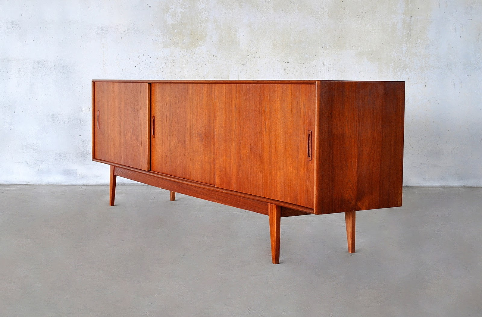 Select Modern Danish Modern Teak Credenza Bar Sideboard