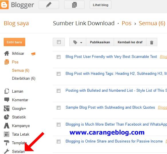 Mengenal Fungsi Menu Setelan Preferensi Penelusuran Tag Meta Deskripsi Blog di Dasbor Blogger