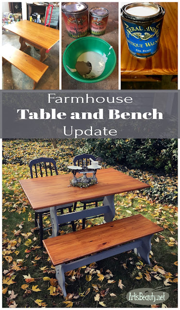 General Finishes Farmhouse style table and bench painted and java gel update diy