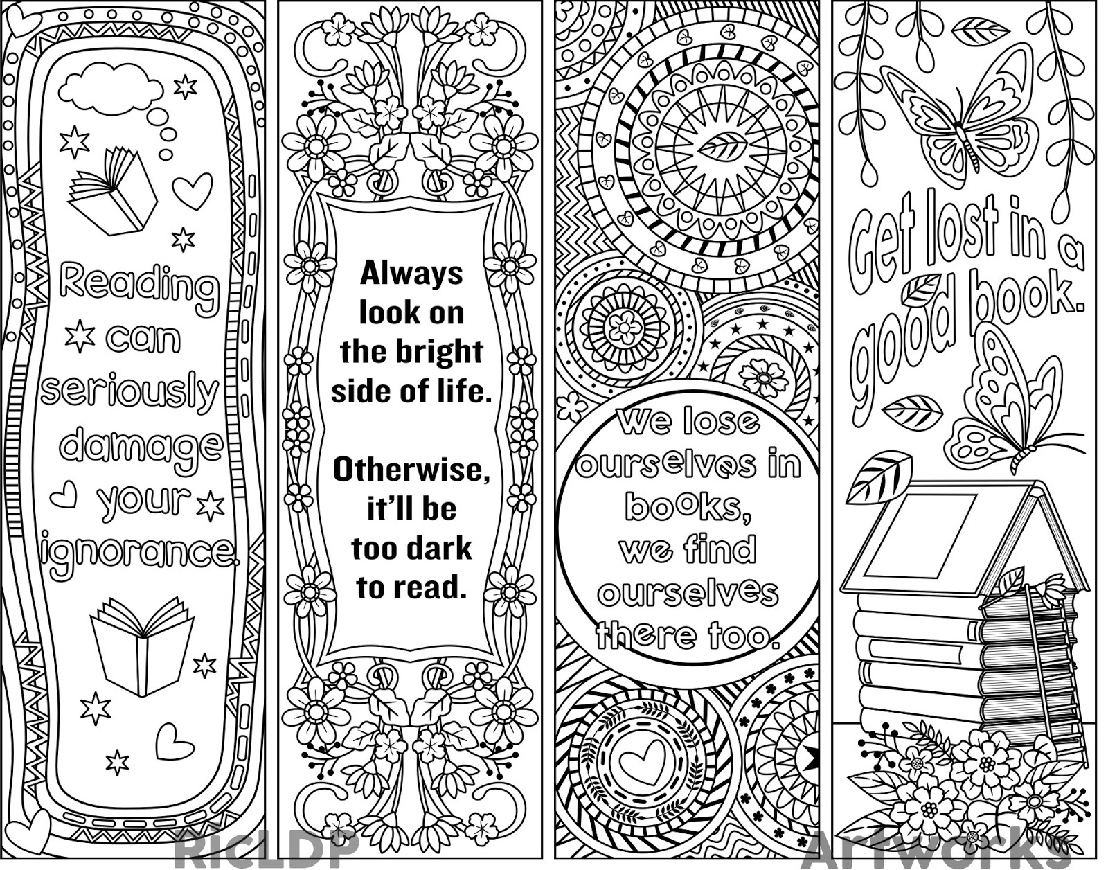 Ricldp artworks printable coloring bookmarks for Book marker template