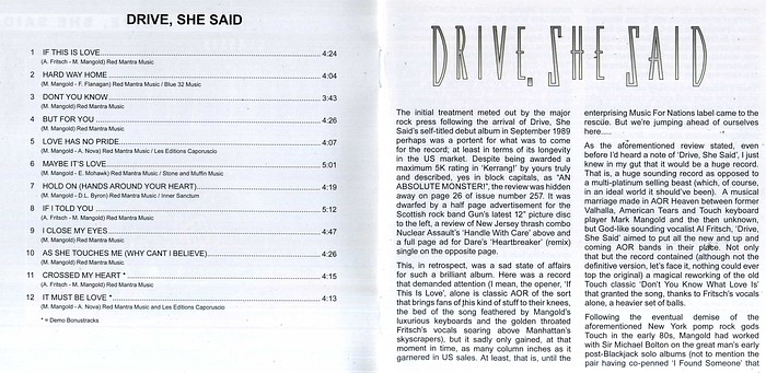 DRIVE SHE SAID - ST [AOR Heaven Classix remastered +2] booklet