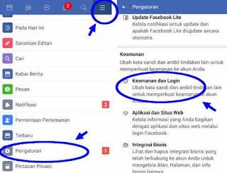 menu pengaturan keamanan sandi di FB lite