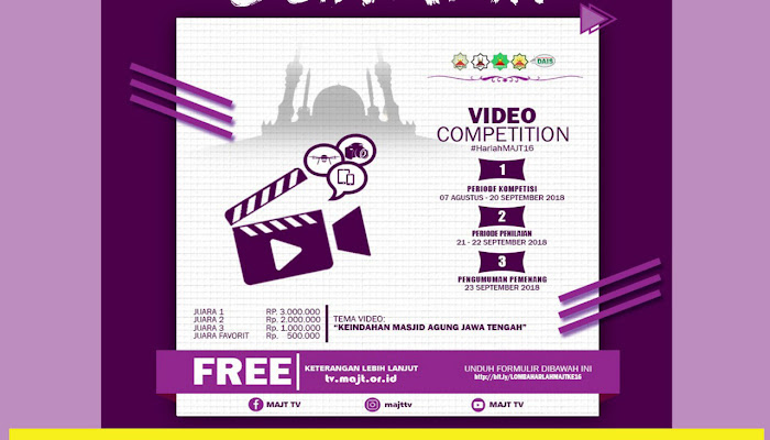 Kabar Gembira, Lomba Video Harlah MAJT diperpanjang 23 September 2018