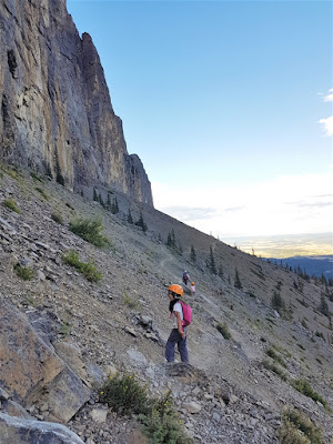 Traversing the south face of Yamnuska