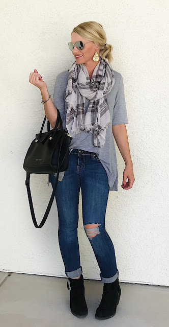 Thrifty Wife, Happy Life- Distressed jeans with grey plaid scarf and black ankle boots
