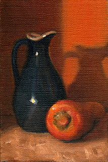 Oil painting of a small blue porcelain sauce jug beside an orange carrot.
