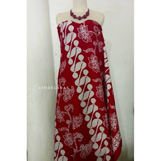 Kain Batik cap kelengan merah barong seling
