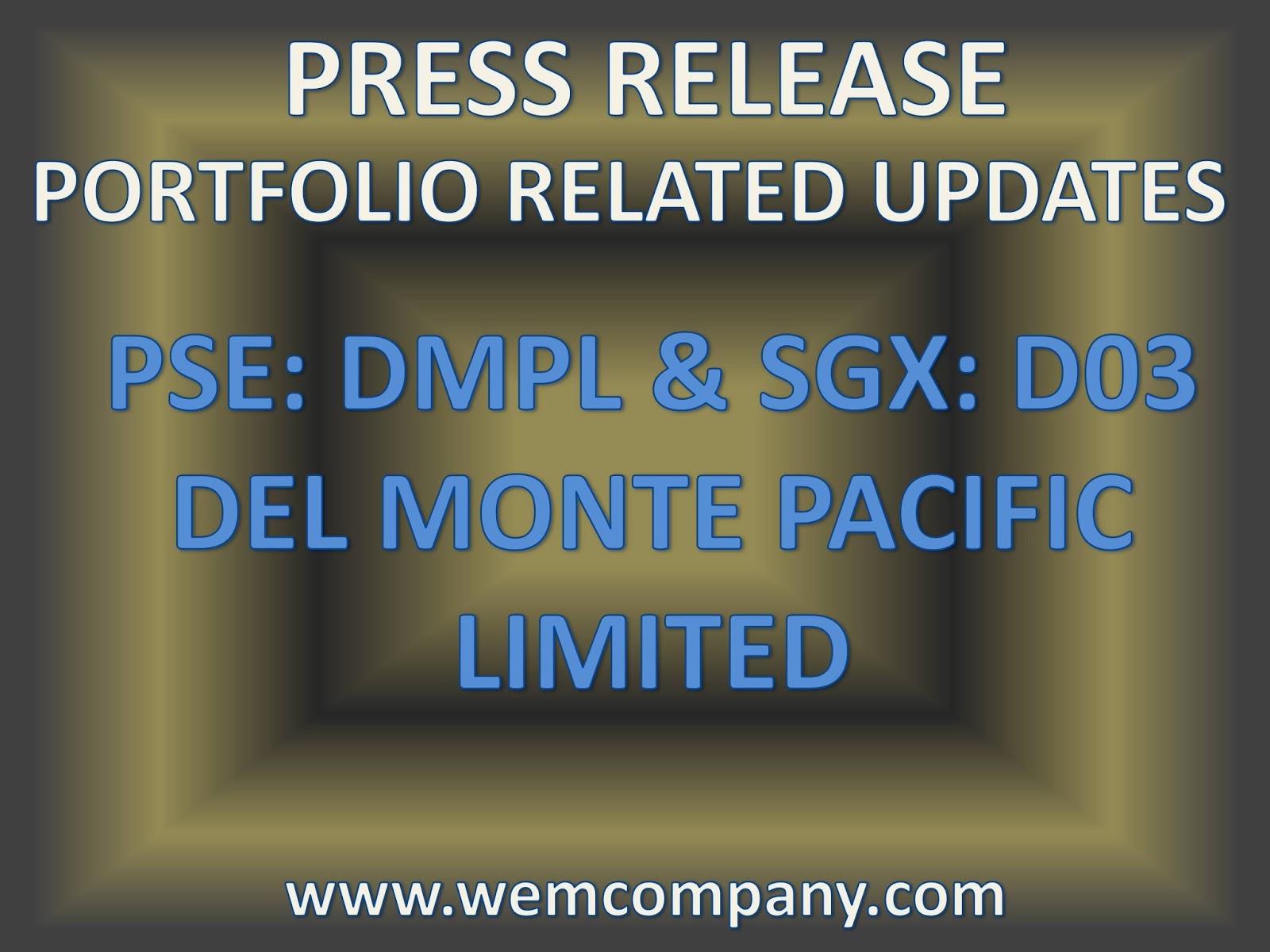 Press Release: Del Monte Pacific Limited (DMPL / D03