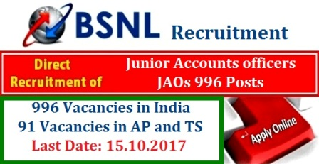 BSNL 996 JAO Posts - Junior Accounts Officers Recruitment Notification Register Online @externalexam.bsnl.co.in Bharath Sanchar Nigam Limited BSNL issued Recruitment Notification DR JAO 996 Posts   Andhra Pradesh and Telangana also have vacancies Registration process to the candidature of Direct Junior Accounts Officers DR JAO in BSNL Apply Online Dates through Online BSNL Portal www.externalexam.bsnl.co.in. Bharath Sanchar Nigam Limited will Recruit about 996 Posts of Direct JAOs from open market/External candidates through Online Competitive Examination 2017. Wide publicity in this regard been given through the indicative Advertisement by all the Telecom Circles on 10th Sep 2017 and through www.externalexam.co.in from 10th Sep 2017. The detailed number of vacancies the said posts of DR JAO ( Junior Accounts Officers ) bsnl-996-jao-posts-junior-accounts-officers-recruitment-register-online-externalexam.bsnl.co.in