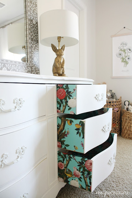 Crazy wonderful wallpapered dresser drawers with milton - Ideas for covering wallpaper ...