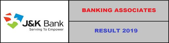 JK BANK Banking Associates Result Notification 2019
