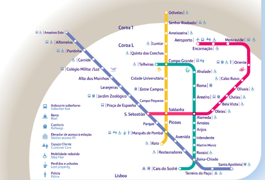anjos lisboa mapa Rede Do Metropolitano De Lisboa Mapa anjos lisboa mapa