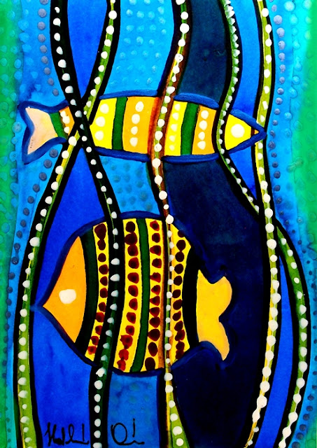 Fishes with Seaweed. Ecoline painting by Dora Hathazi Mendes. From Karavella Atelier.