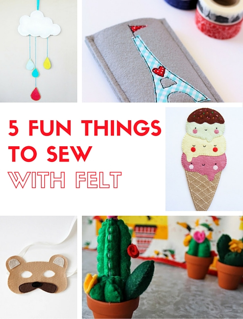 5 fun things to sew with felt, free patterns   Happy in Red