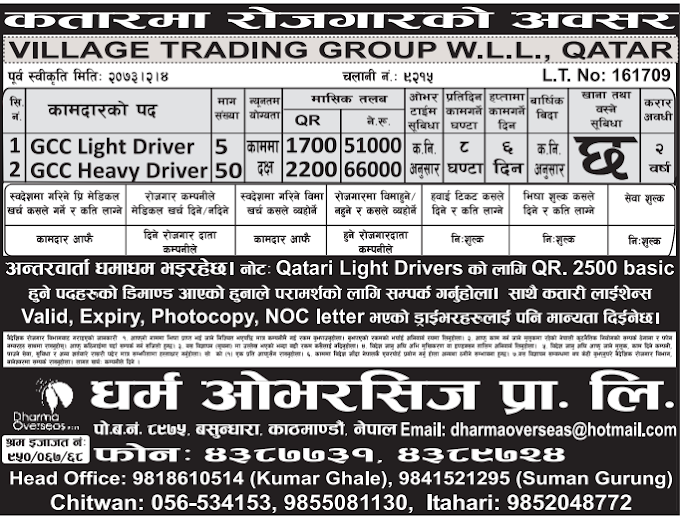 Free Visa, Free Ticket, Jobs For Nepali In Qatar, Salary -Rs.66,000/