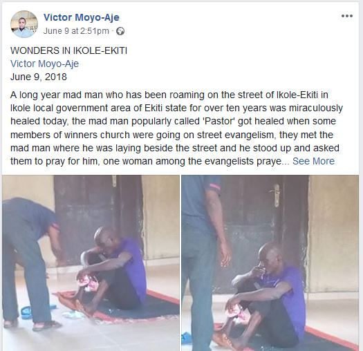 Photos: Mad man for ten year ''miraculously healed'' by female evangelist in the street of Ikole-Ekiti