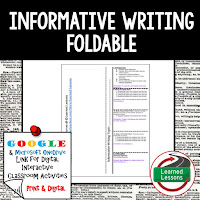 Informative Writing Foldable, Informative Writing Google Classroom, Digital Learning, 1:1
