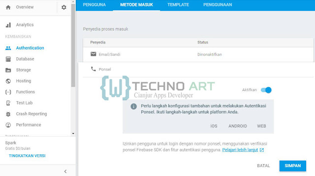 WildanTechnoArt-Mengaktifkan Metode Login Ponsel