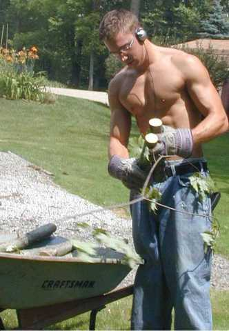 Topless yard work