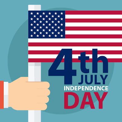 Illustrated poster of hand holding a flag.  Text: 4th July Independence Day