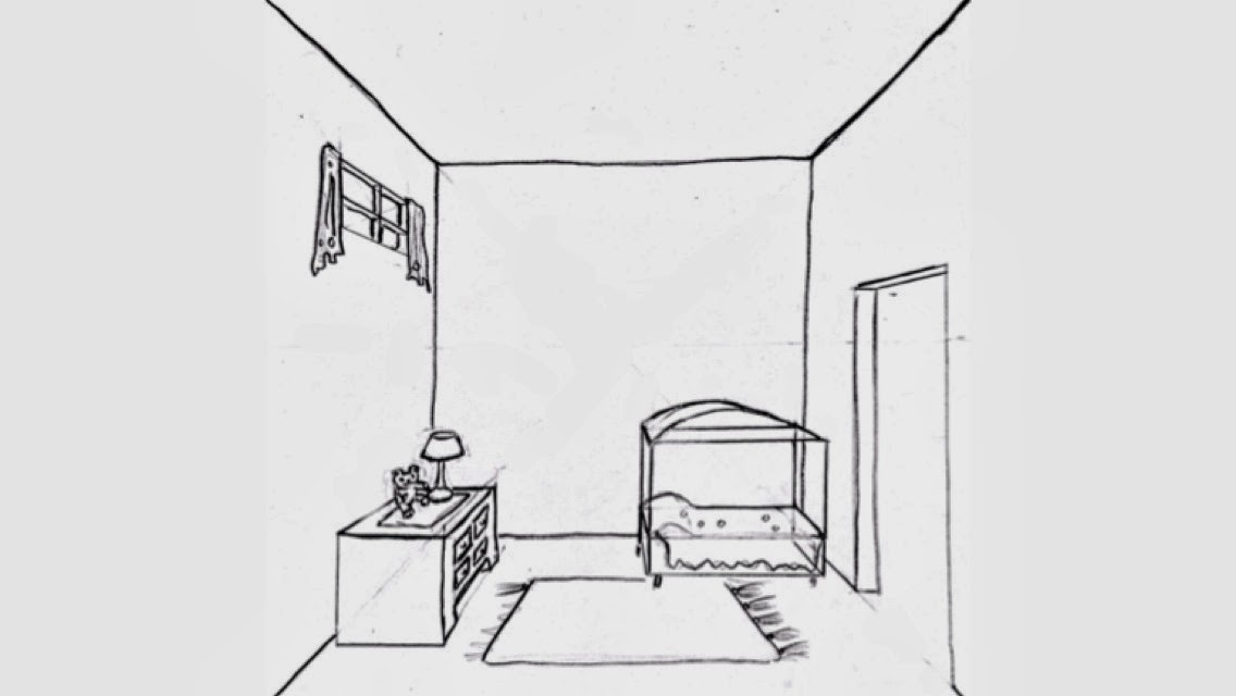 Draw Surrealistic Room In One Point on bed into sofa