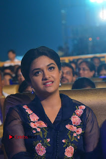 Actress Keerthi Suresh Stills in Blue Long Dress at Nenu Local Audio Launch  0001.JPG