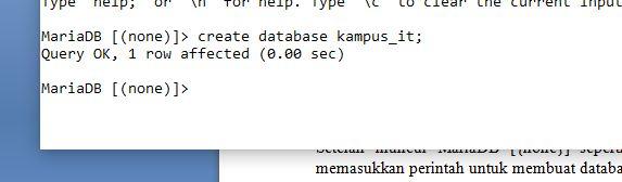 Membuat Database Baru Dengan CMD