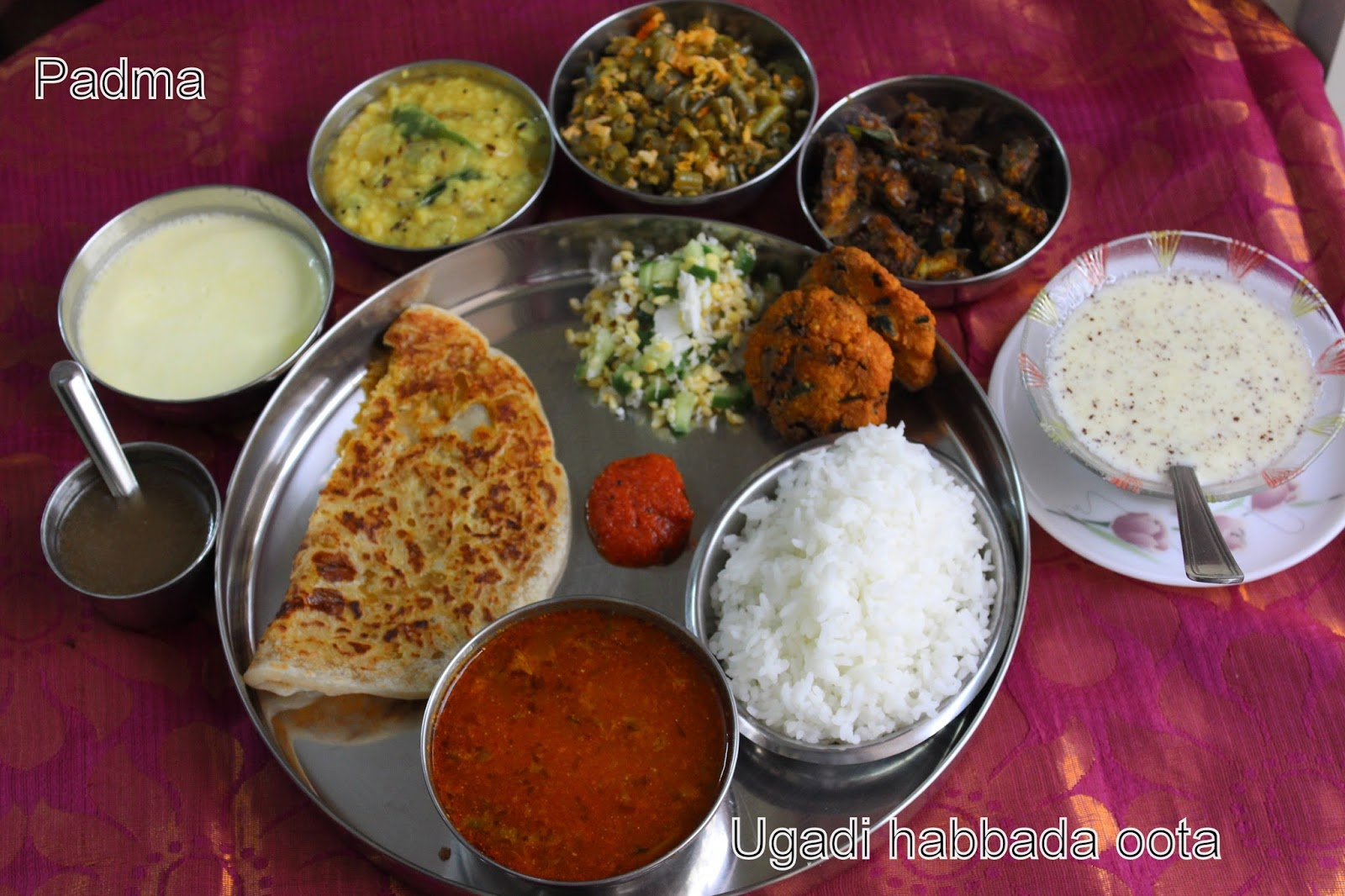 Plantain leafandhra recipes ugadi thali karnataka with holige obbattu saru or holige saru is a important dish in ugadi feast for kannada families its a type of thick rasam made with channadal cooked water forumfinder Choice Image