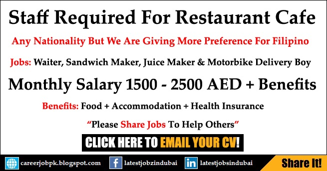 Restaurant Cafe Jobs in Dubai 2017