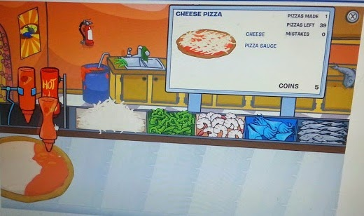 Club Penguin game and magazine review - example game pizza shop