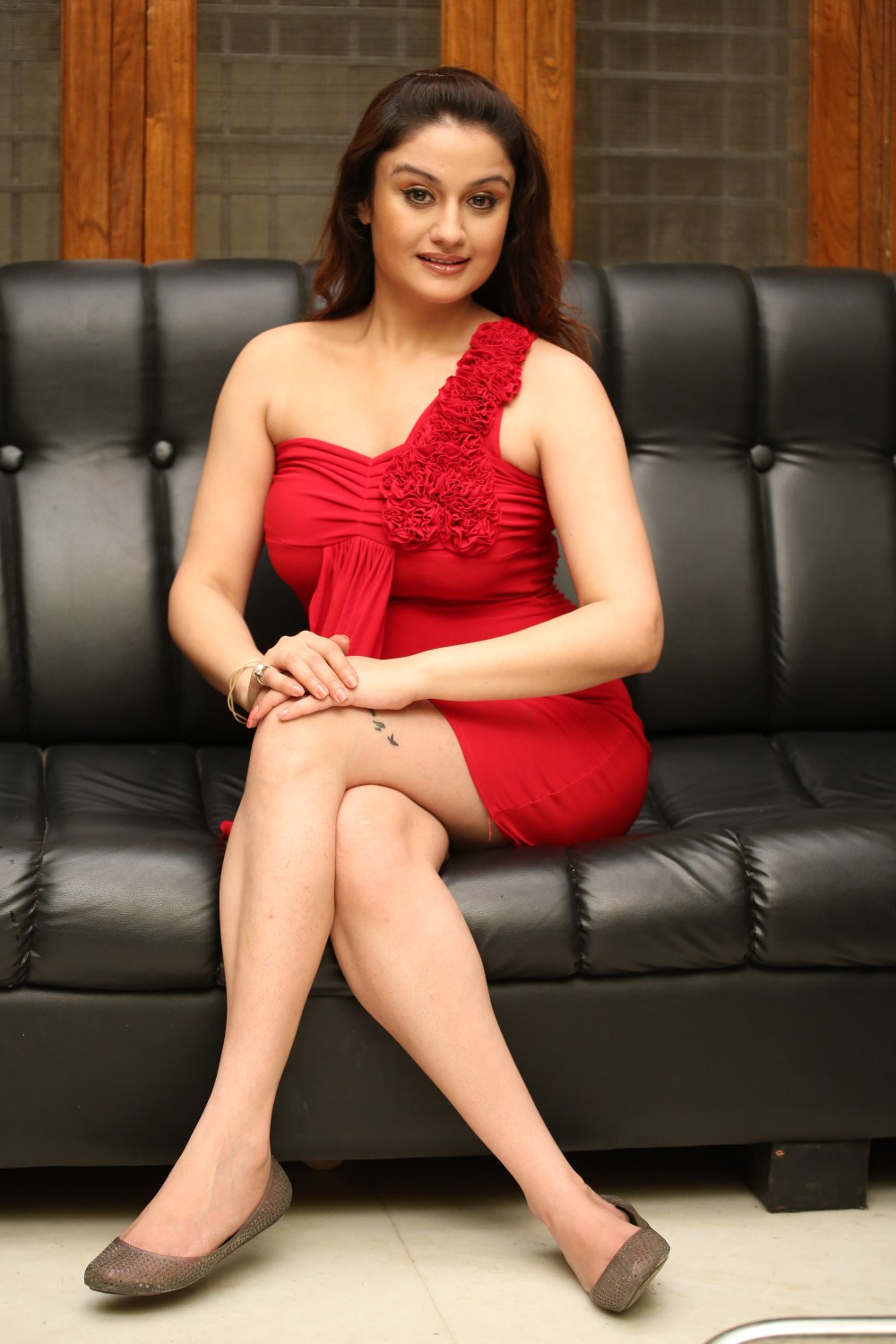 Sonia Agarwal Hot Photoshoot Gallery In Red Short Dress -5258