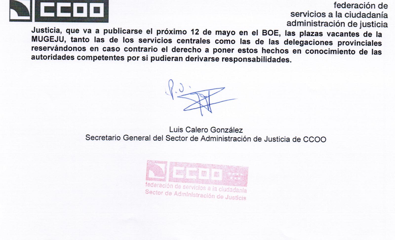 Ccoo justicia jaen carta de ccoo a la secretaria de for Ccoo concurso de traslados