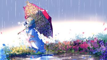 Anime, Girl, Flowers, Gas Mask, Raining, Umbrella, 4K, #313