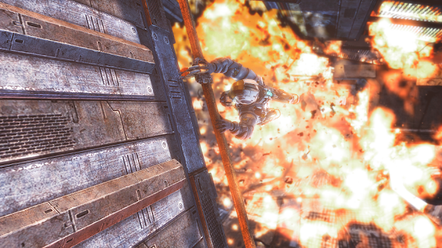 A cutscene near the start of Dead Space 3 with explosions and space ships