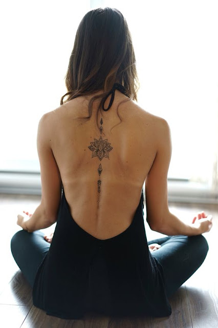 Stunning Back Lotus Flower Tattoo For Women
