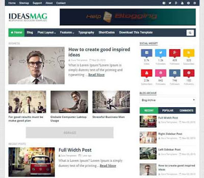 Ideas Mag Stylish Clean, Responsive design For Business, Magazine, Technology blog Black, White, Green color Minimalist Seo Ready Tabbed widget ready Recent widget, popular widget & recent comment widget ready Free Premium template 8 Social Bookmark Ready 2 Columns layout 3 Columns Footer Blogger Template Downloadf