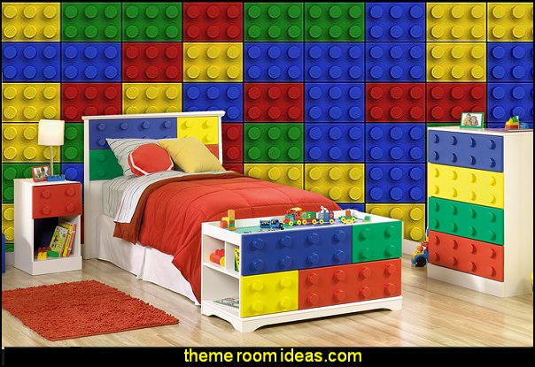 Primary Street Children's Toy Block Complete Bedroom Set  Lego wallpaper  Lego bedroom decor  Lego bedding