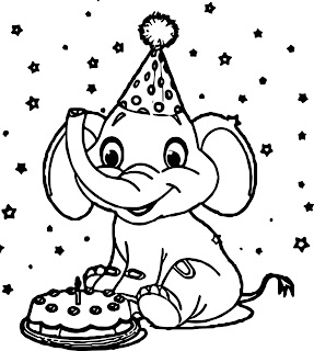 Click to see printable version of Happy Elephant Day Coloring page