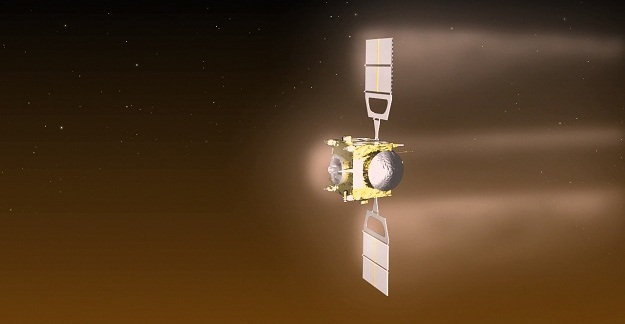 Visualisation of Venus Express during the aerobraking manoeuvre. Credit: ESA–C. Carreau