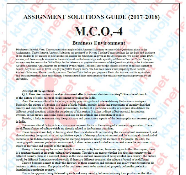 MCO-04 Business Environment Solved Assignment For MCOM 2nd Year