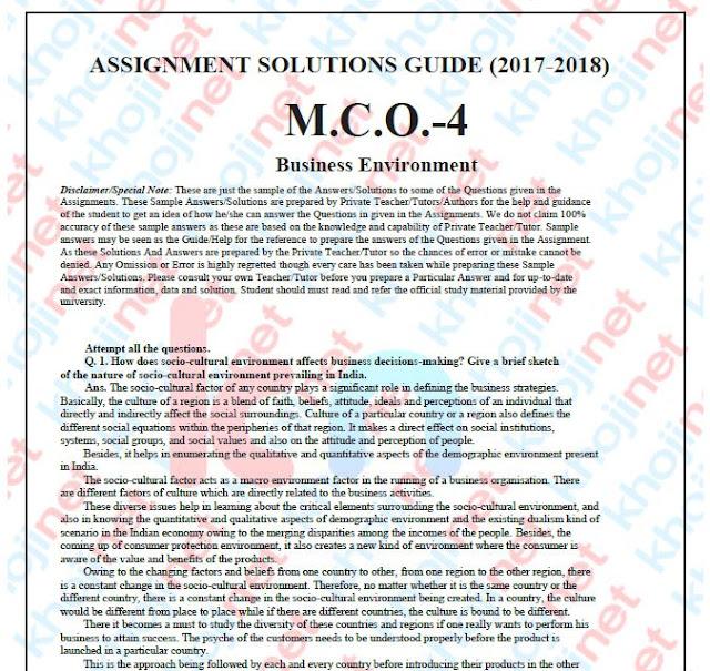 MCO-04 Solved Assignment For MCOM IGNOU