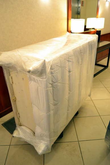 Carefully wrapped furniture is kept safe during the move