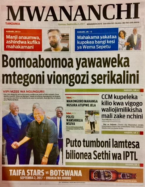 Habari Zilizopo  Katika  Magazeti  ya  Leo  Ijumaa  Septemba 1, 2017