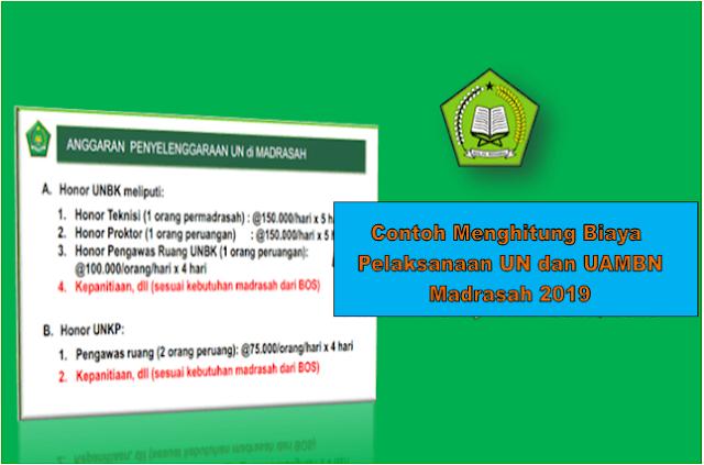 Contoh Menghitung Biaya Pelaksanaan UN dan UAMBN Madrasah 2019
