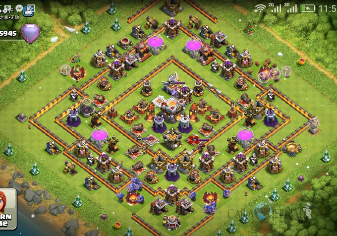 Base Trophy TH 11 COC Update Bomb Tower Terbaru 2017 Tipe 13