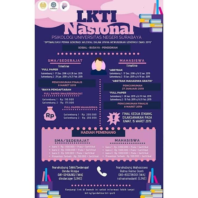 Lomba LKTI Nasional Psychotacular Vol.3 2019 SMA-Mahasiswa
