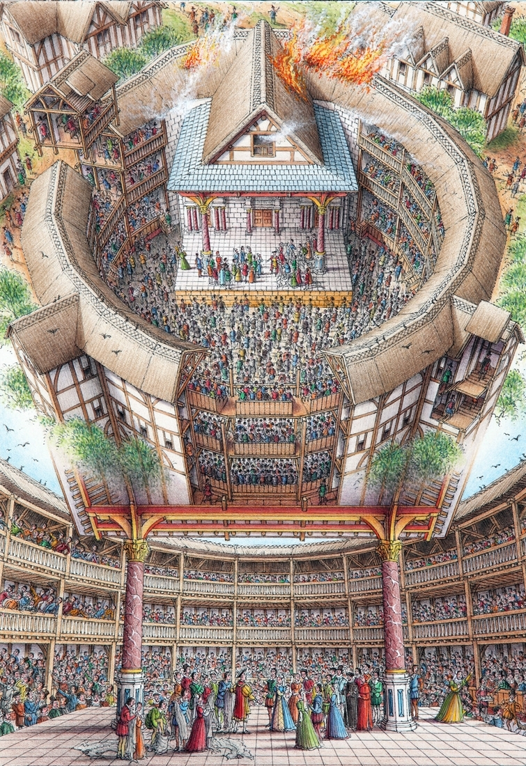 02-Globe-Theatre-London-Stephen-Biesty-Historical-Architectural-Buildings-Inside-out-Drawings-www-designstack-co