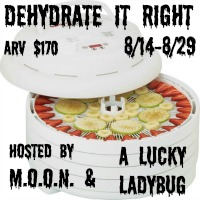 Enter the Dehydrate It Right giveaway for a Nesco Dehydrator. Ends 8/29.
