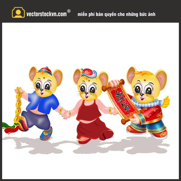 Chuột vàng du xuân. File in lịch tết 2020